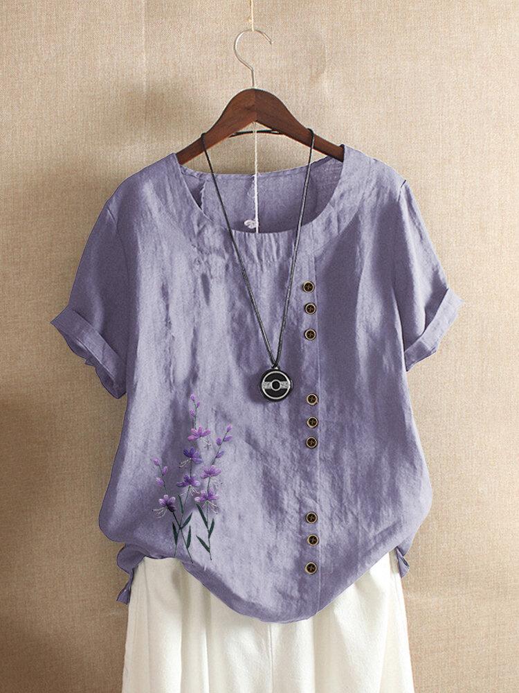 Blumenstickerei Kurzarm T-Shirt mit O-Ausschnitt für Damen