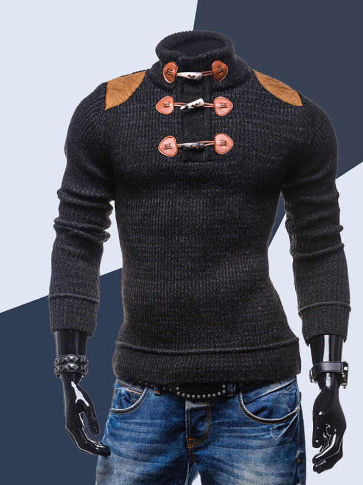 Men Stand Collar Knit Skinny Casual Sweater