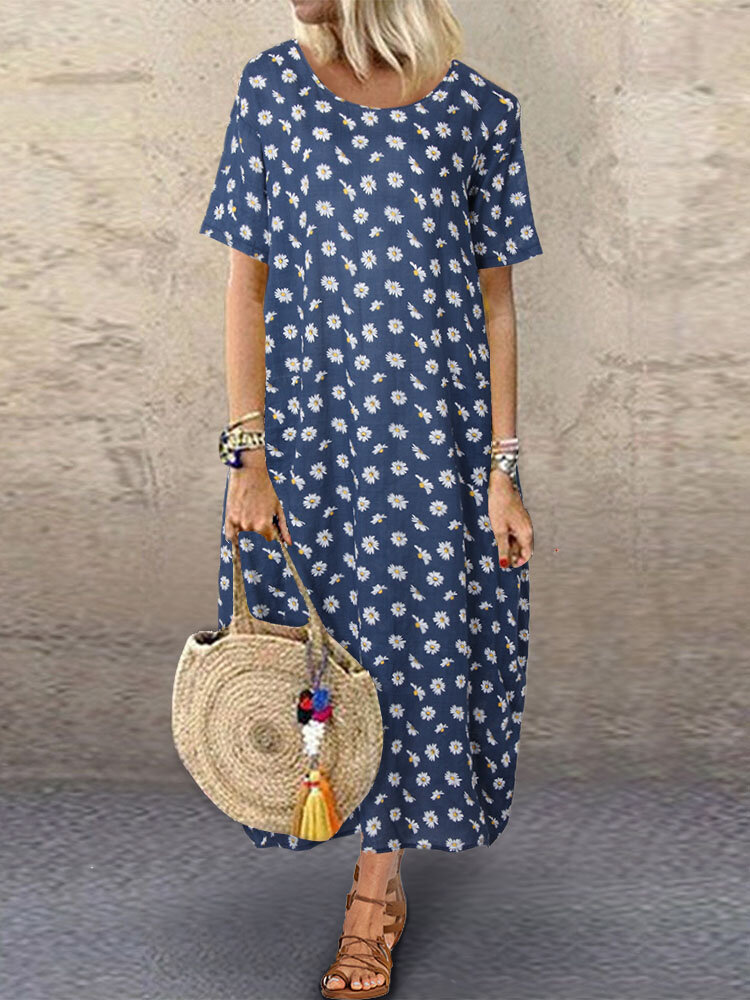 Floral Printed O-Neck Midi Dress With Pocket
