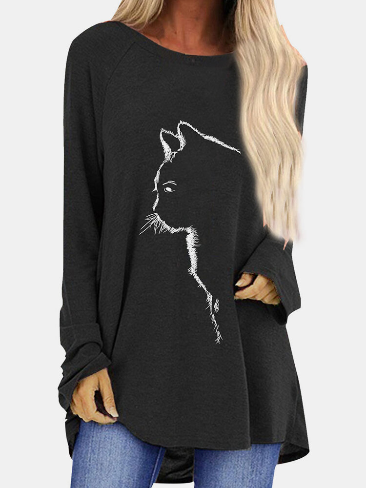 Cat Printed Casual O-neck Long Sleeve T-Shirt For Women