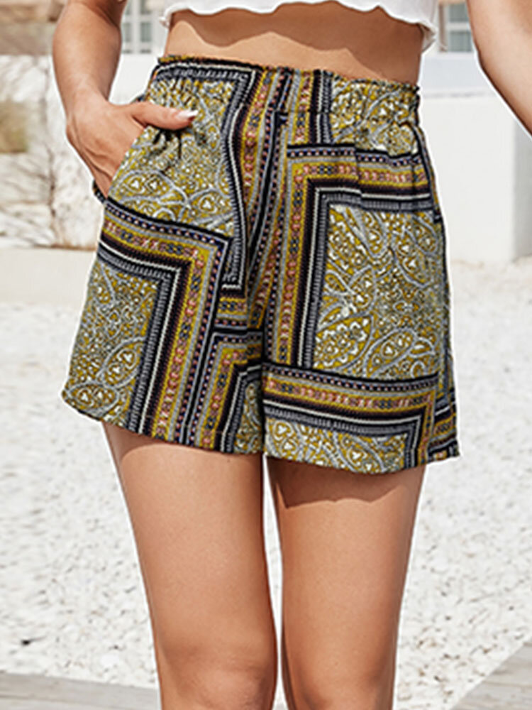 Ethnic Pattern Print Elastic Waist Casual Shorts with Pocket