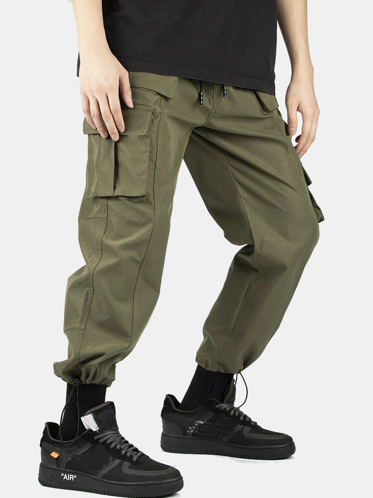 Mens Cotton Multi-Pocket Detail Solid Drawstring Utility Cargo Pants With Draw Cords