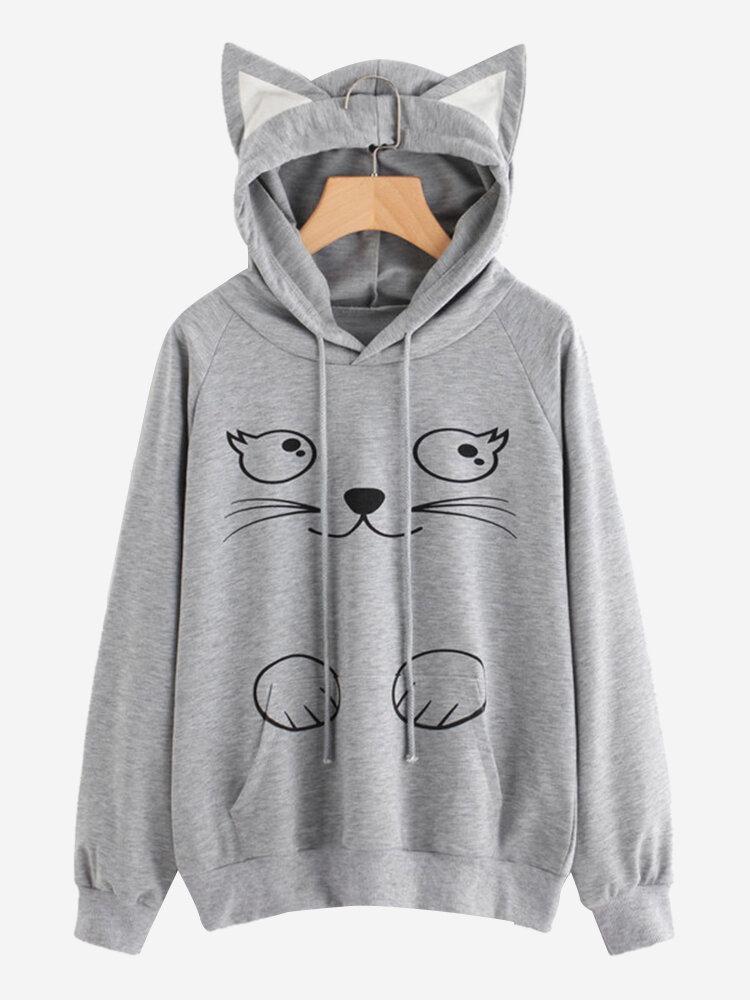 Sudadera casual con capucha y gato estampado de manga larga