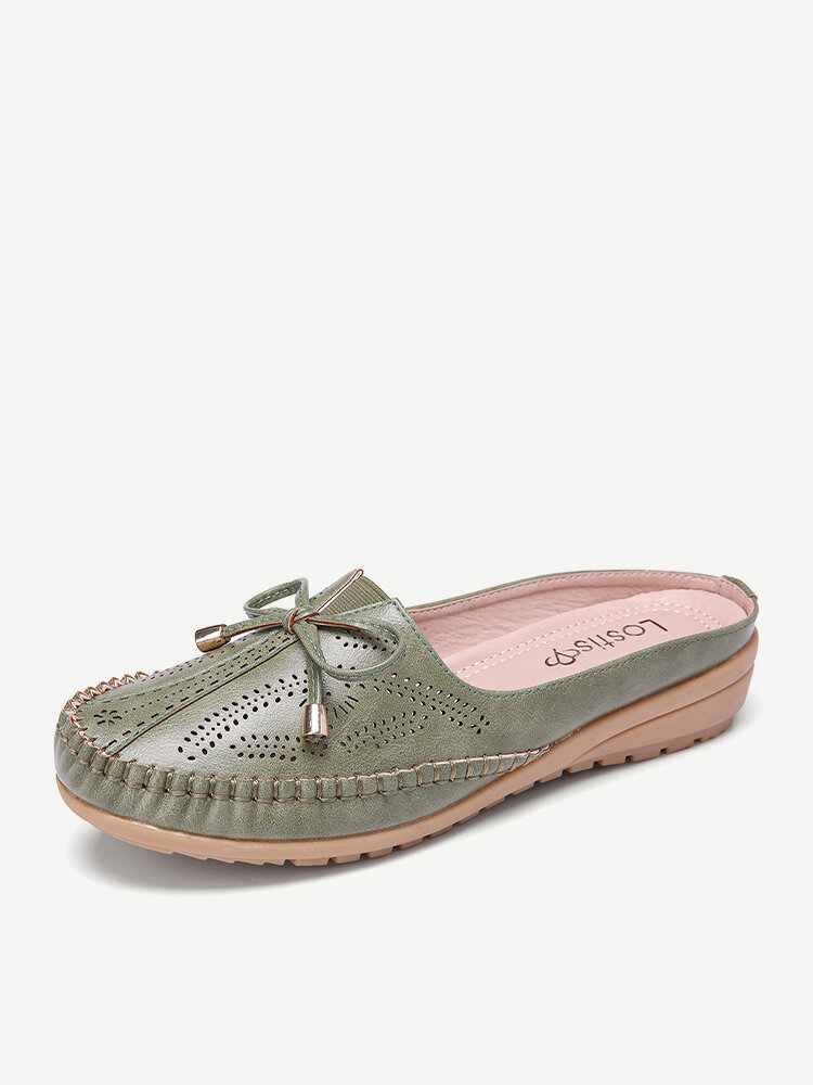 LOSTISY Comfortable Insole Bowknot Hollow Out Casual Backless Loafers