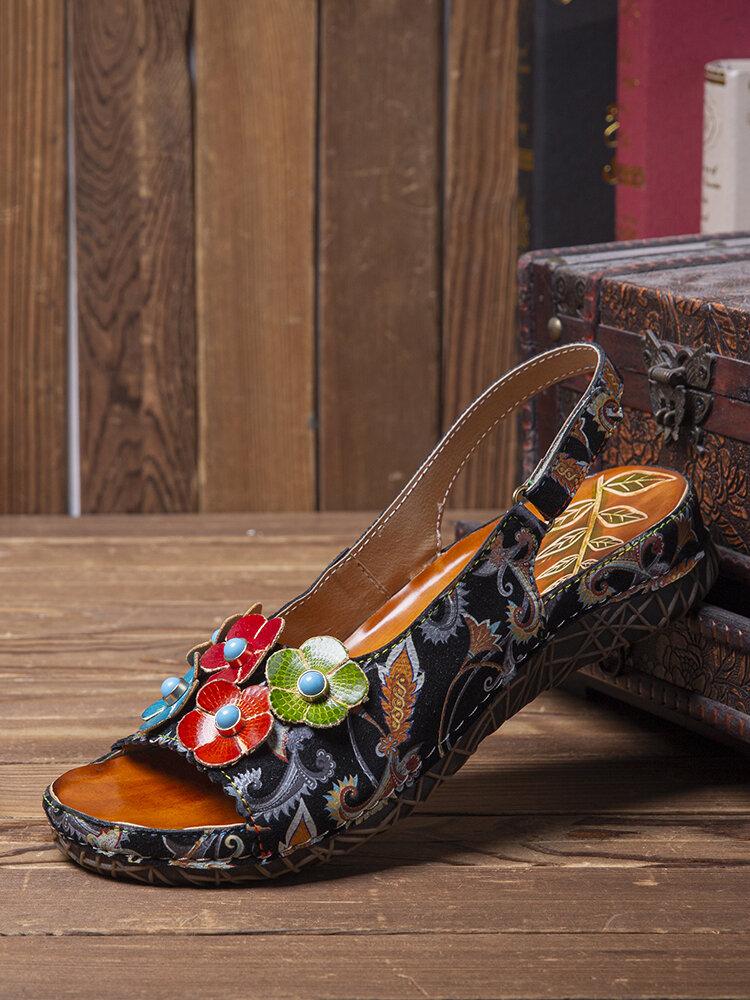 Socofy Sandales plates confortables en cuir véritable à imprimé ethnique en cuir véritable à bout ouvert