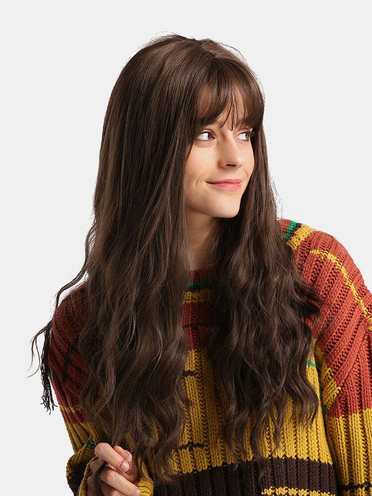 26 Inch Brown Wavy Long Curly Hair Bangs  Wig Synthetic Hair with Bangs Natural Fluffy Long Wavy Hai