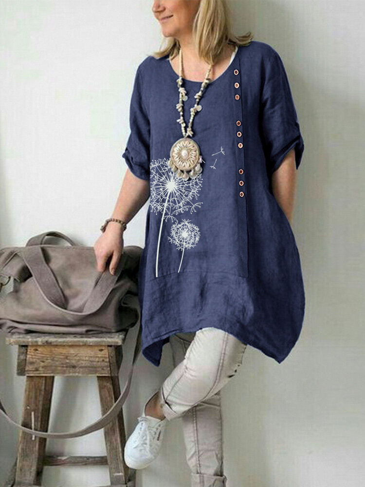 Flower Print Casual Plus Size Blouse for Women