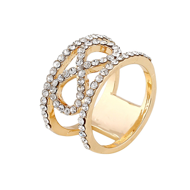 Trendy Alloy Rhinestone Rings Gold Color Infinity Ring Fashion Jewelry for Women