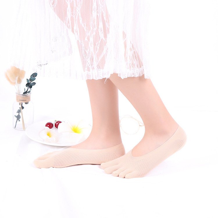 Women Ultra-thin Mesh Hole Five Toe Sock Anti-skid Solid Color Invisible Breathable Summer Sock