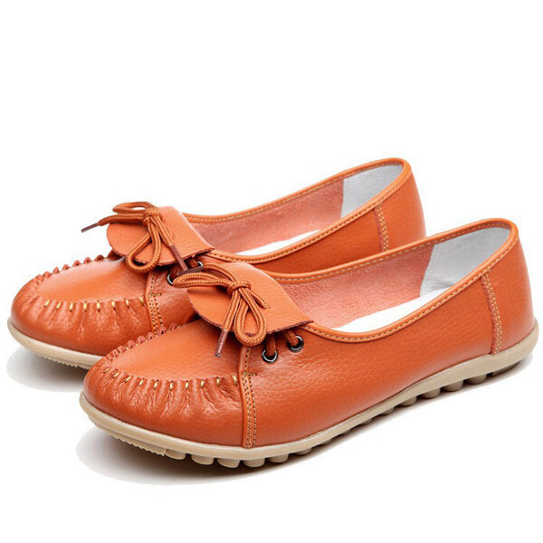 Leather Pure Color Lace Flat Soft Casual Comfortable Shoes