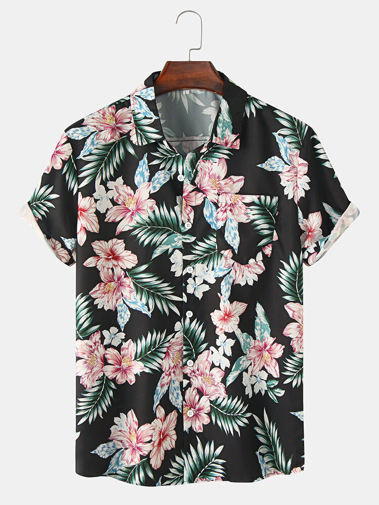 Mens Holiday Floral Print Cotton Short Sleeve Shirts With Pocket