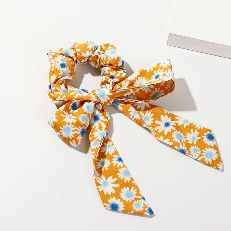 Temperament Daisy Bow Hair Tie Ponytail Scarf Elastic Hair Rope Print Ribbon Hairbands