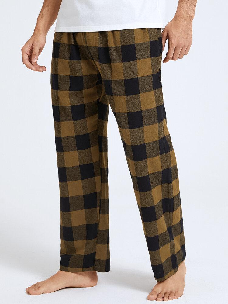 Mens Yellow Palid Cotton Home Pajama Pants With Pocket