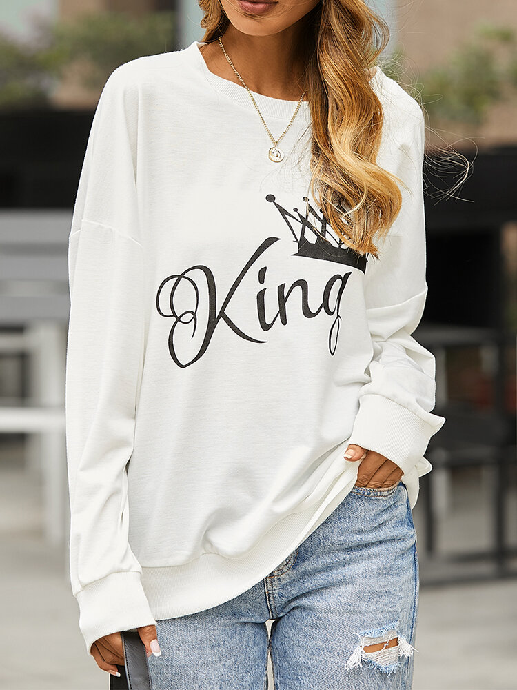 Crown Letters Print O-neck Loose Casual Sweatshirt For Women