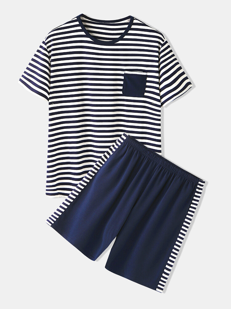 Men Cotton Thin Navy Blue Striped Sleepwear Sets Comfy Homewear With Front Pocket