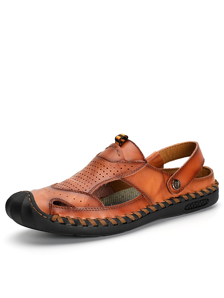 Men Outdoor Rubber Toe Cap Hand Stitching Leather Sandals