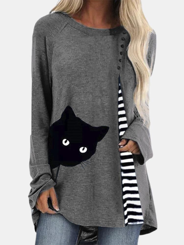 Cartoon Cat Striped Patchwork O-neck Long Sleeve T-shirt