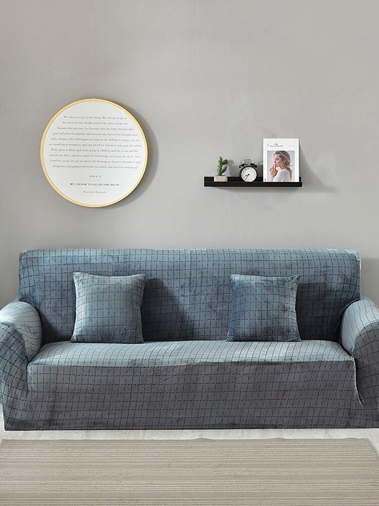 Plush Plaid Elastic Thickened Sofa Cover Pillow Case Non-slip full coverage Anti-dirty Sofa Covers