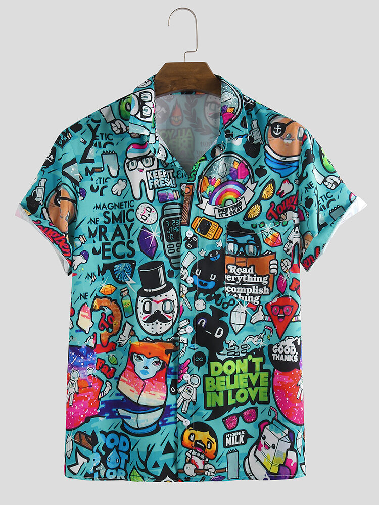 Mens Cartoon Graffiti Printed Turn Down Collar Short Sleeve Shirts