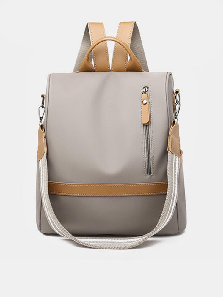 Sac à dos de voyage anti-voleur en nylon sac porté épaule multifonctionnel en couleur pure de loisirs pour femme