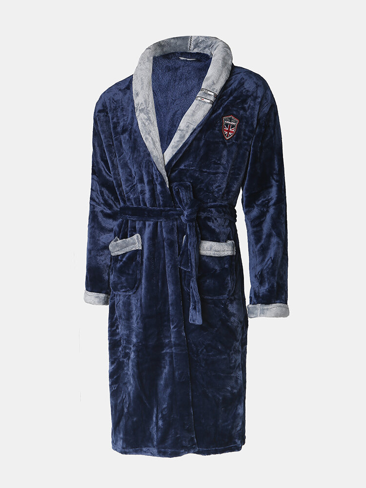 Mens Flannel Robe Casual Patchwork Lapel Collar Belted Pocket Soft Pajamas