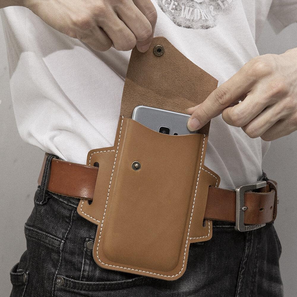Homens EDC Couro Genuíno Cintura de suporte de telefone de 5,5 polegadas Cinto Bolsa
