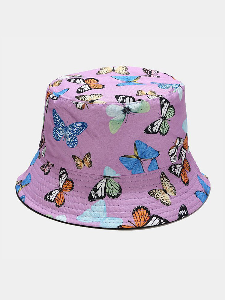 Women & Men Double-Sided Colorful Butterflies Pattern Outdoor Casual Sunshade Bucket Hat
