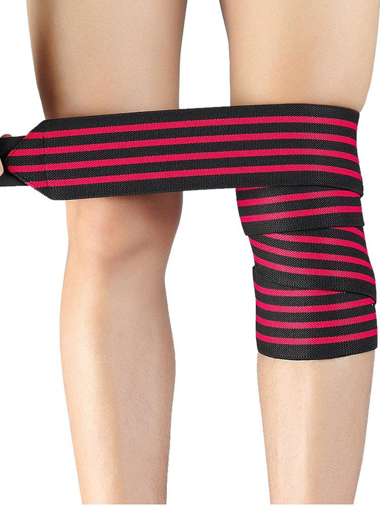 Men Chinlon Wide Brim Surround Stripe Pattern Thin Breathable Wicking-Sweat KneePads