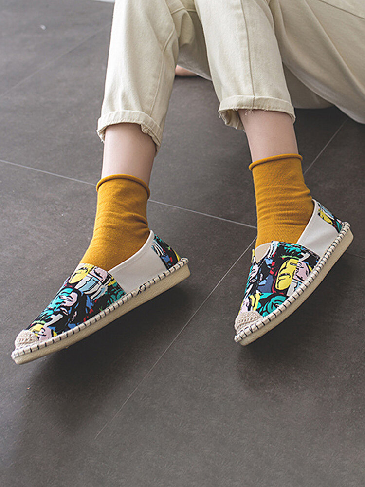 Plus Size Comfortable Cartoon Pattern Fisherman Shoes Casual Hand-Stitching Flats