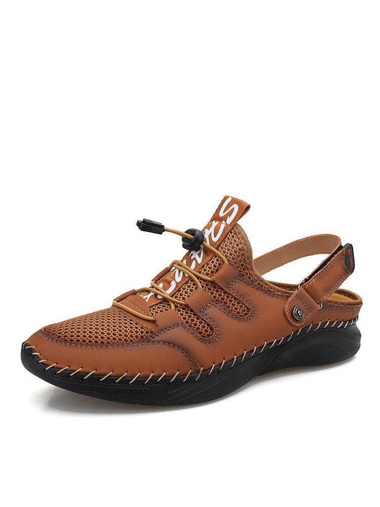 Men Lace-up Two-ways Letter Non Slip Hand Stitching Sandals