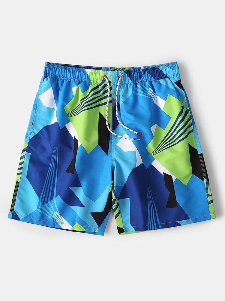 Mesh Lining Blue Geometric Printed Beach Quick Drying Drawstring Board Shorts With Pocket