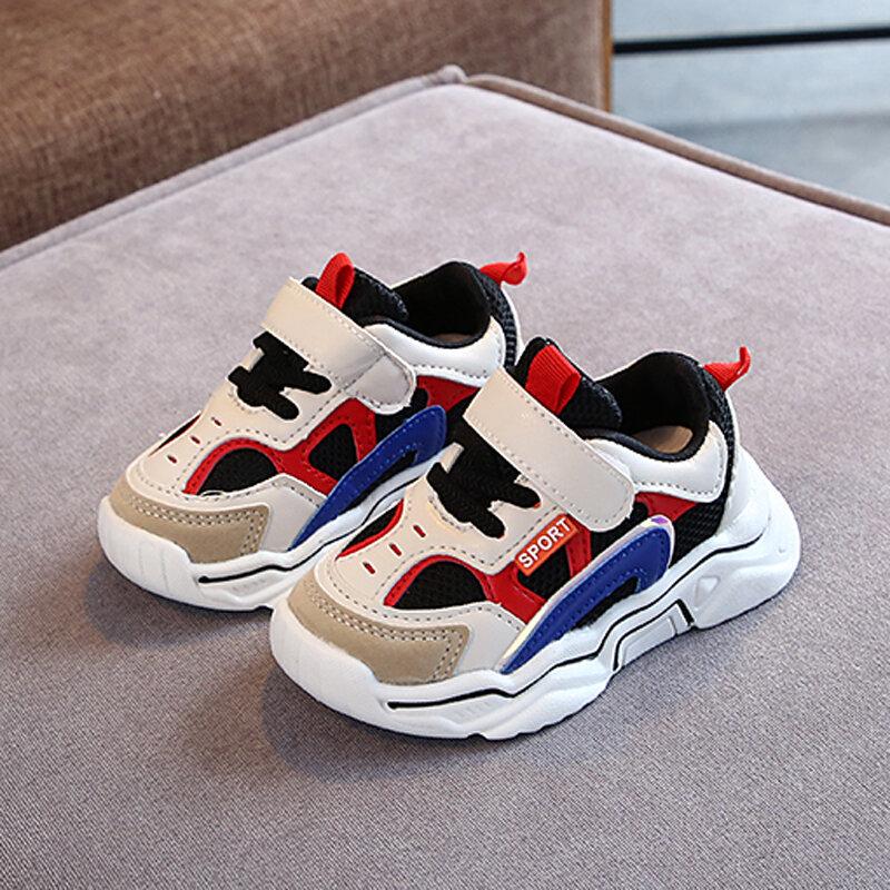 Zapatillas de deporte transpirables antideslizantes de malla para niños Colorblock Sports unisex para niños