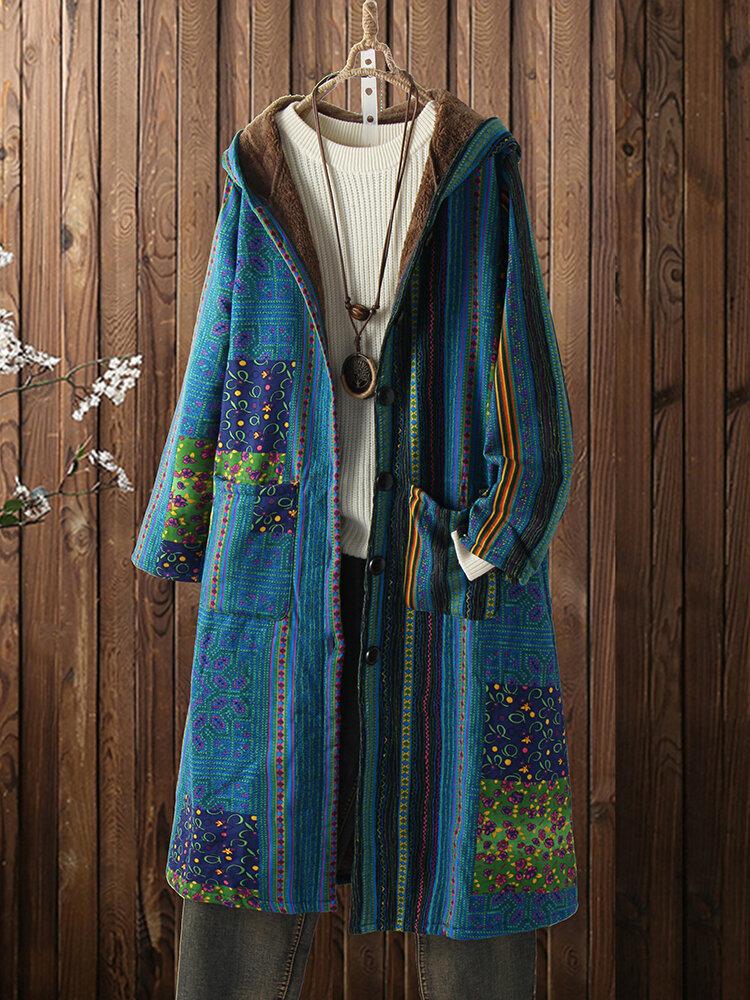Vintage Print Fleece Langarm Plus Größe Kapuzenmantel mit Taschen