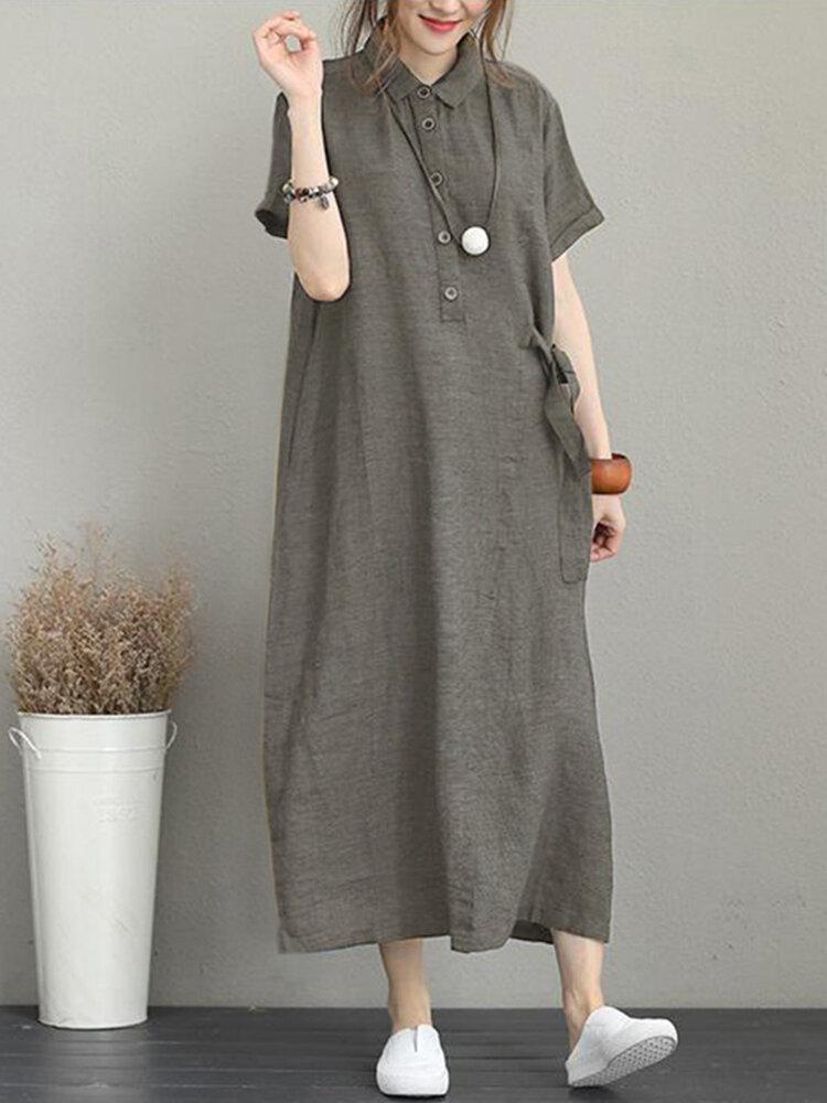 Vintage Umschlagkragen Seitentasche Kordelzug Kleid