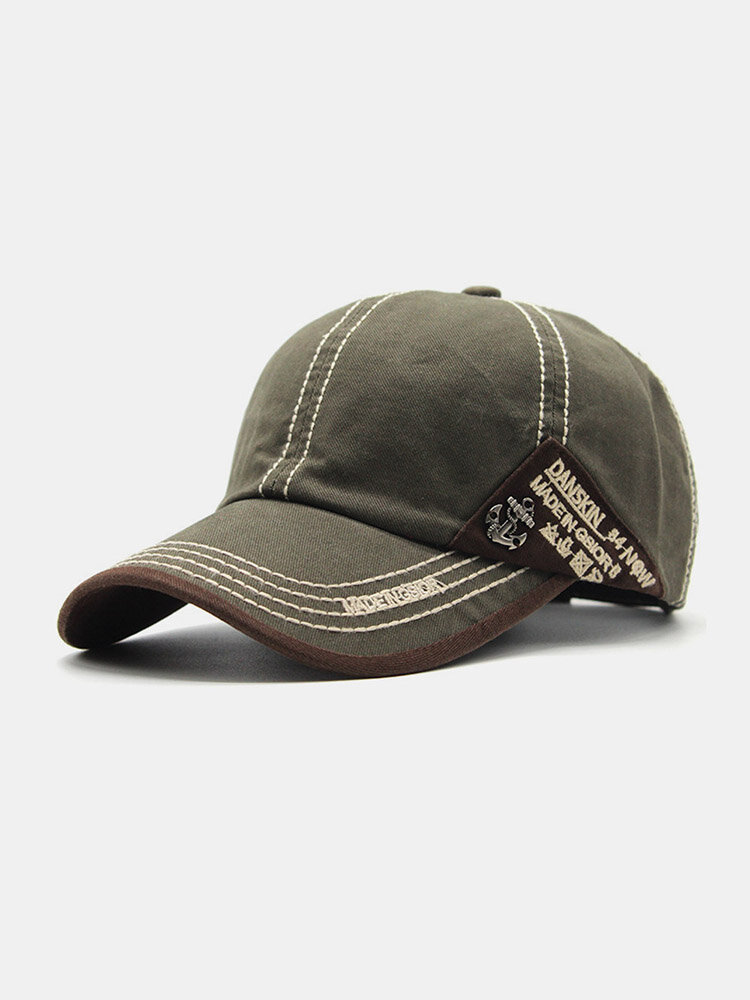 Men Cotton Stitching Letter Embroidery Metal Anchor Label Casual Sun Protection Baseball Caps
