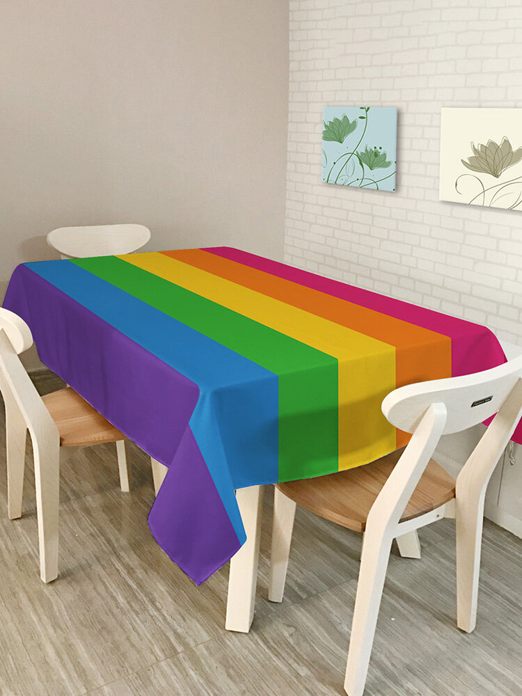 Modern Simple Style Rectangle Polyester Tablecloth Colorful Triangle Geometry Pattern Table Cover