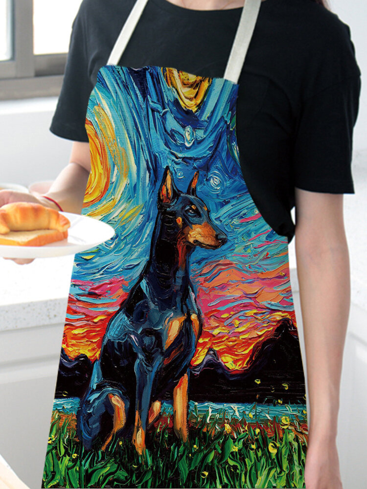 Cartoon Color Cat Pattern Cleaning Colorful Aprons Home Cooking Kitchen Apron Cook Wear Cotton Linen Adult Bibs