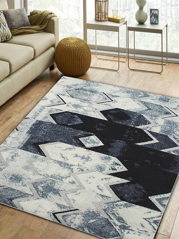 居間の寝室のための抽象的な現代的な黒灰色の銀製の床のカーペットの敷物のマット
