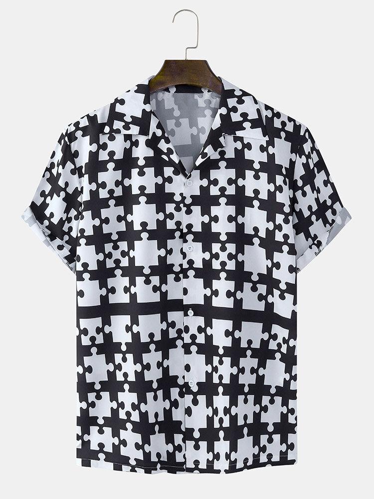 Mens Jigsaw Pattern Revere Collar Regular Hem Short Sleeve Shirt