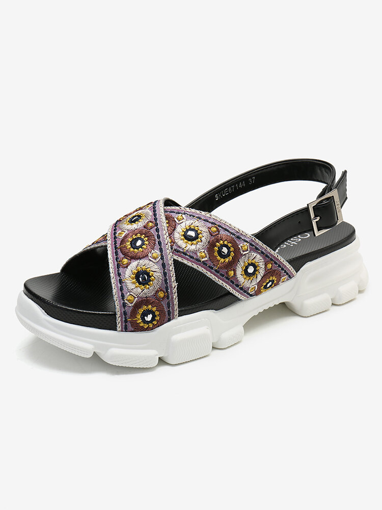 LOSTISY Embroidered Cross Strap Casual Slingback Sport Sandals