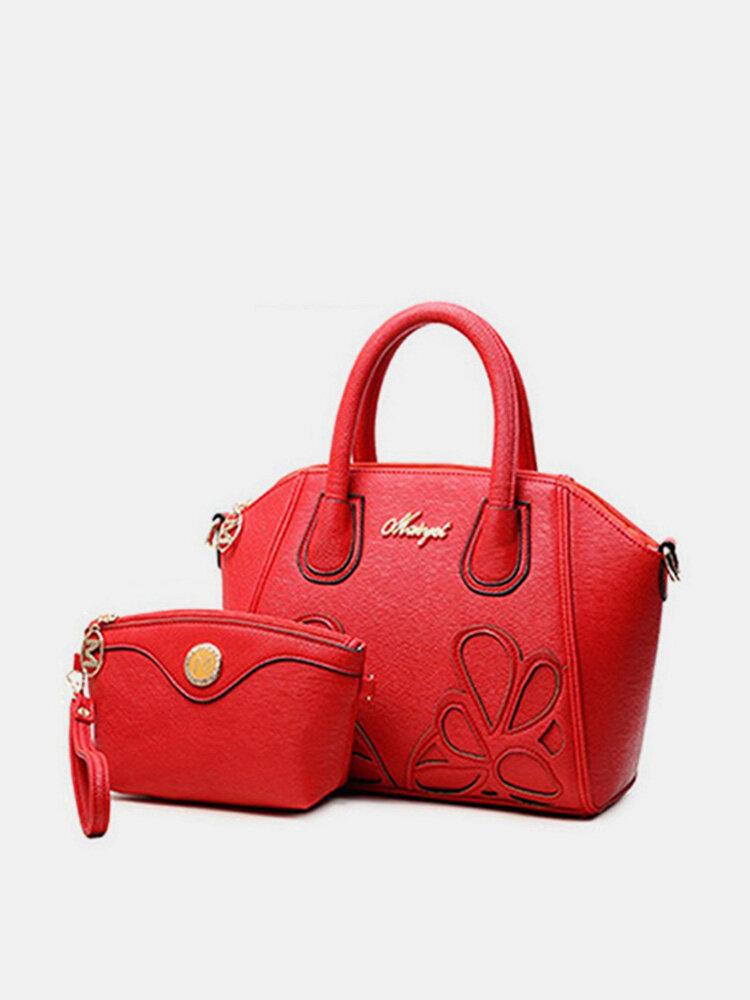 Ladies Stylish Flower Empaistic 2PC Handbag Clutch PU Leather Shell Bags