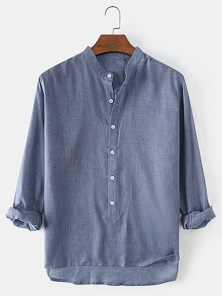 Mens Cotton Regular Fit Solid High Low Hem Henley Shirts With Long Sleeve