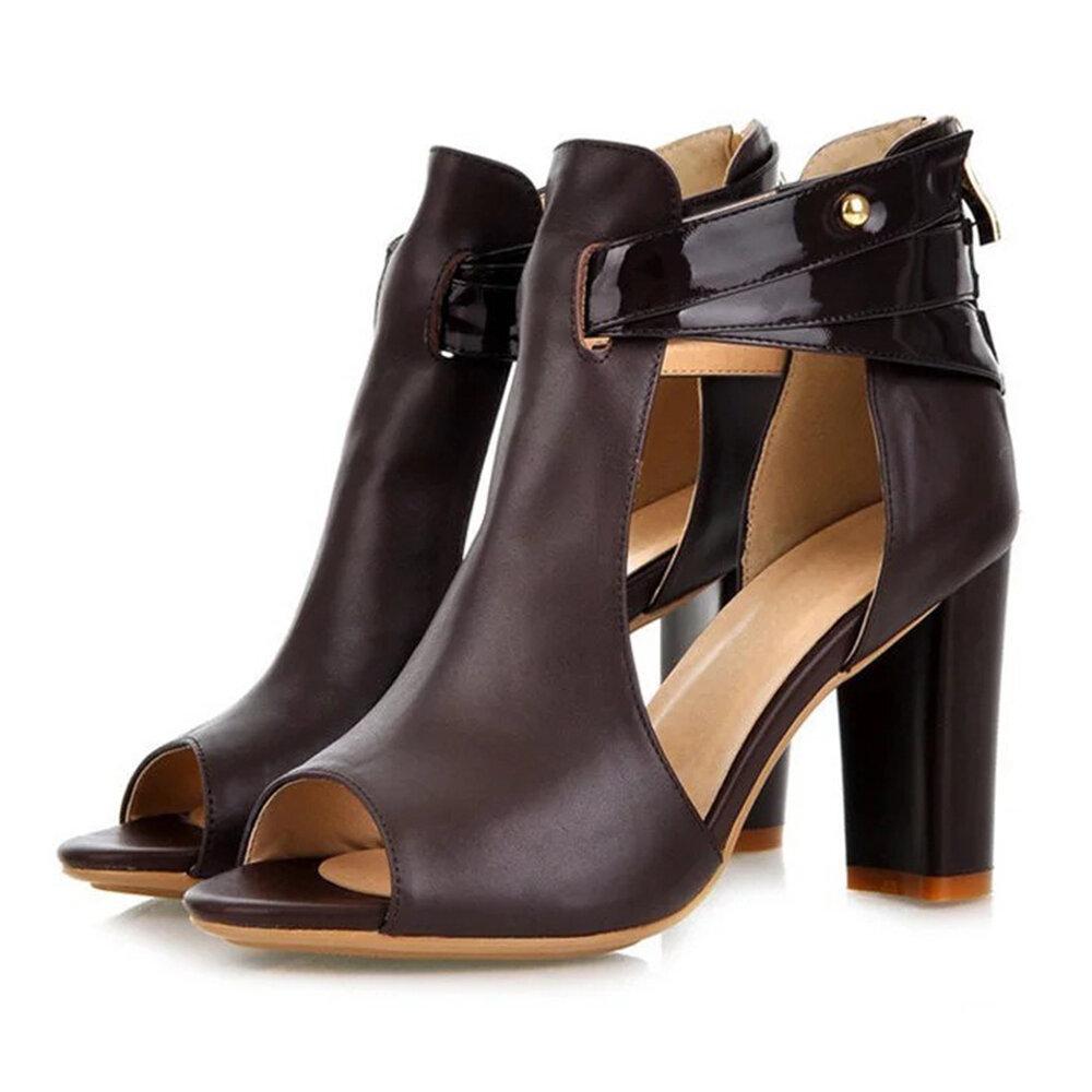 Genuine Leatehr Peep Toe Sandals Pumps
