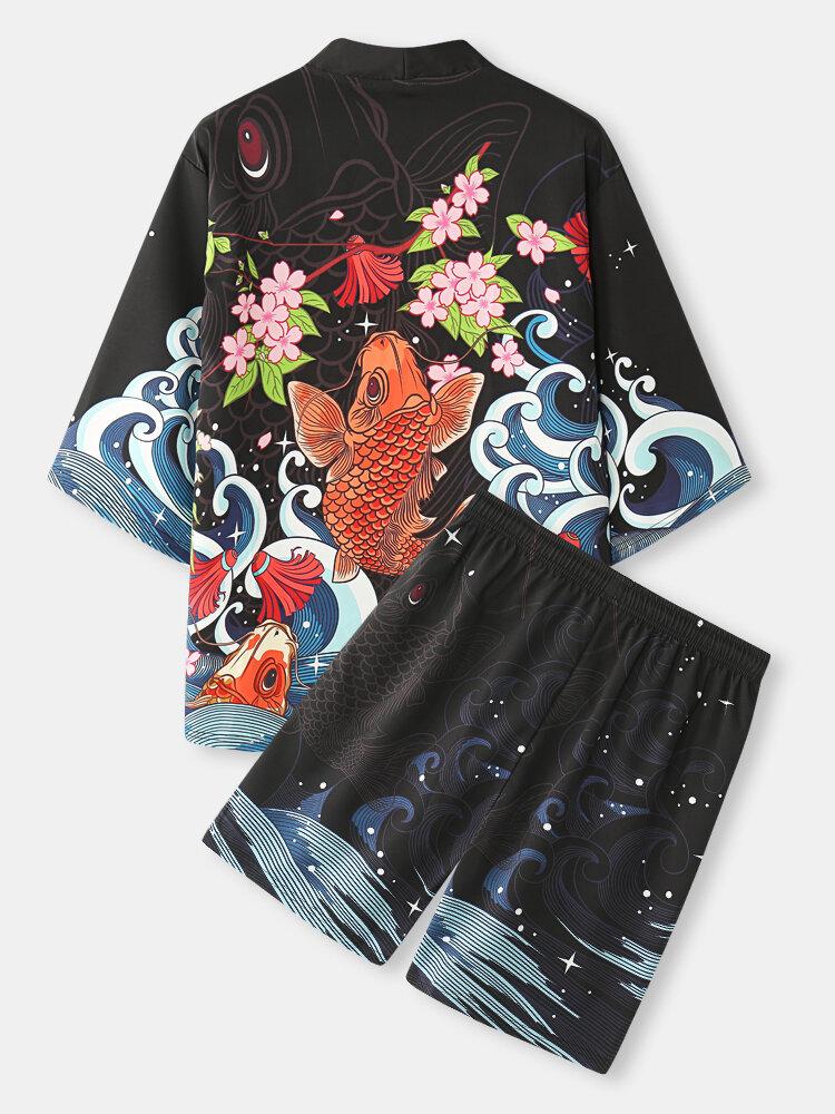メンズ桜&鯉バックプリント着物和風ツーピース衣装