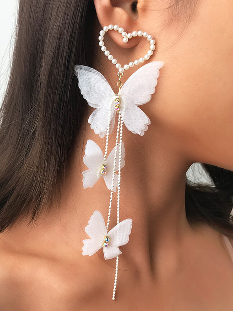Trendy Metal Peach Heart Pearl Long Earrings Temperament Butterfly Tassel Pendant Earrings