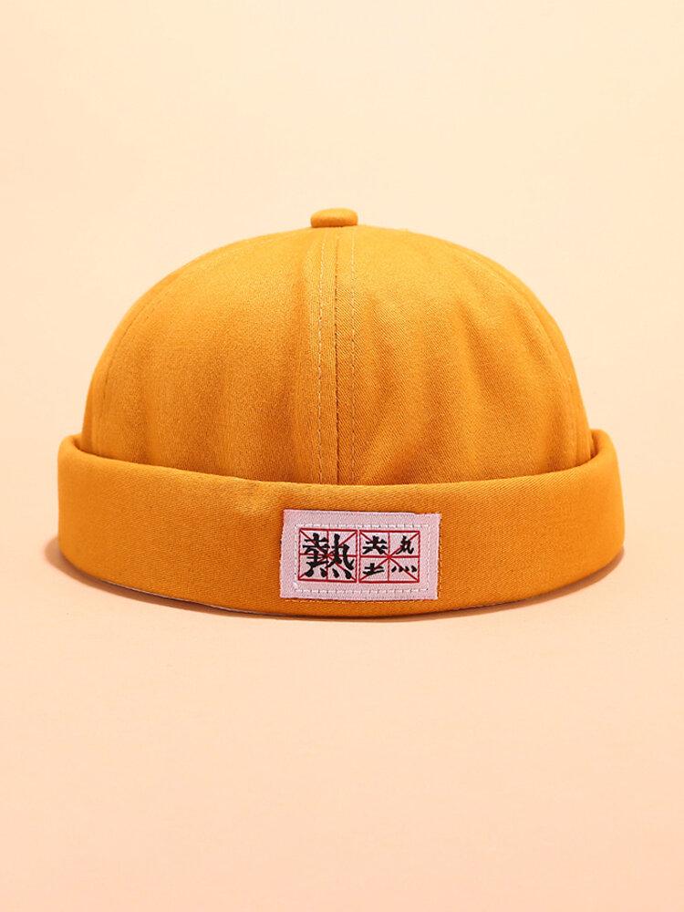 Männer Damen Baumwolle Vollfarbige randlose Hüte Schädelkappen mit chinesischen Buchstaben