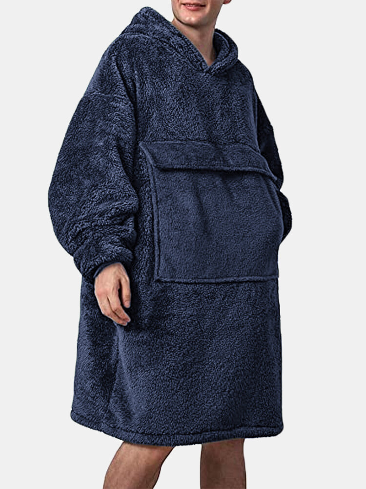Men Wearable Blankets Hooded Robes Fleece Oversized Homewear Heated Pajamas with Big Pockets