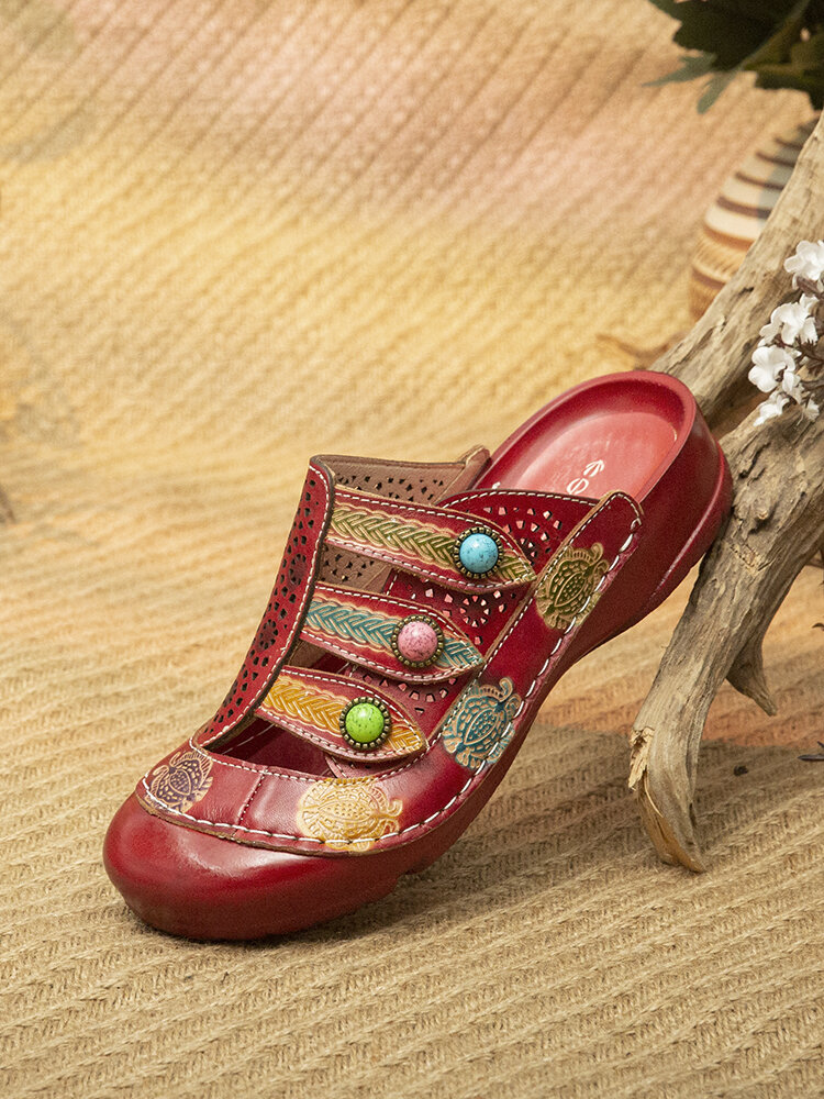 Socofy Ethnic Floral Print Adjustable Hook Loop Beading Hollow Out Mule Sandals