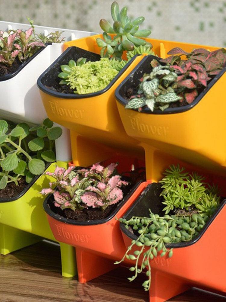 スタッカブルガーデンプランターフラワーポット壁掛けガーデン用品ガーデン手すりパティオ家の装飾