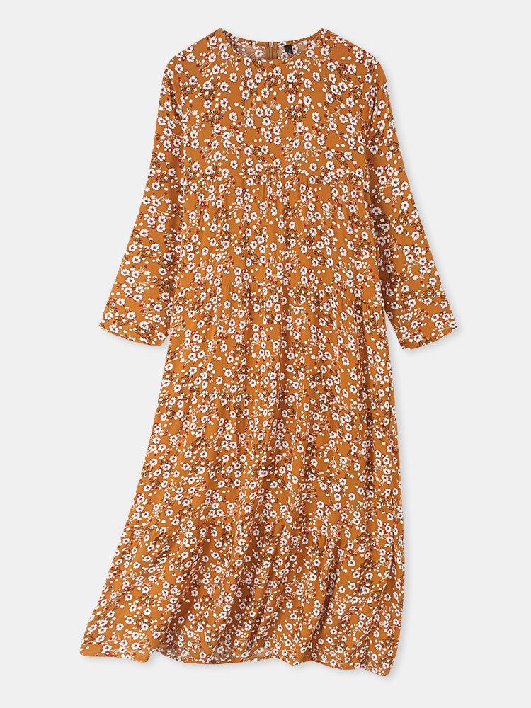 Women Vintage Floral Print O-neck Pocket Long Sleeve Maxi Dress